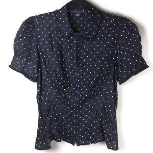 Ralph Lauren Silk Ruffle Polka Dot Blouse Size 6